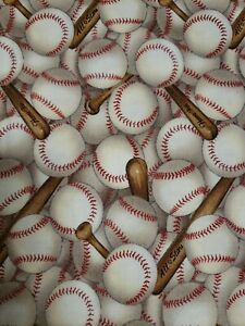 Precut 1 Yard Pieces Baseballs and Bats Sports Cotton Fabric by The Yard