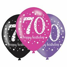 6pk Pink Sparkling Celebration 70th Birthday Party Latex Balloons 27.5cm