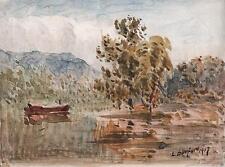 LAURENCE GEORGE BOMFORD Painting 1917 IMPRESSIONIST BOAT ON LAKE LANDSCAPE