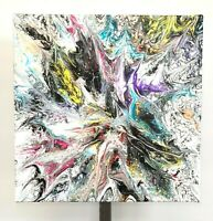 "Painting Acrylic on Canvas Original Contemporary Abstract Fluid Art 10"" x 10"""