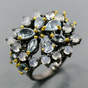 Handmade ring Blue Topaz Ring Silver 925 Sterling  Size 8 /R174558