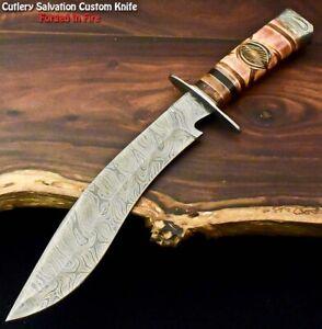 Rare!!! Custom Handmade Damascus Steel Blade Hunting Kukri Knife | Camel Bone