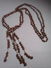 Lariat Necklace Safari Vintage Wooden Beaded
