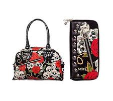 Banned Skull Roses Stud Zip Handbag Shoulder Bag & Wallet Gift Set Goth Punk Emo