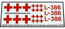 Precut Custom Replacement Stickers voor Lego Set 386 - Red Cross Helicopter and