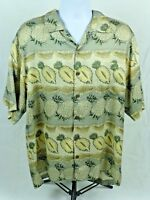 TOMMY BAHAMA Hawaiian Pineapple Aloha Floral Camp Shirt Size L Large 100% Silk