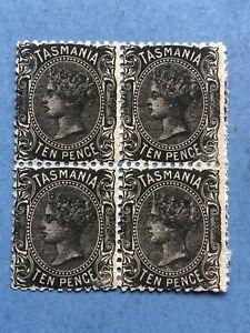 GB Tasmania 1870-71 SG131 Ten-pence Black Block of 4 - Mint