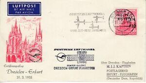DDR  Erstflug   Dresden - Erfurt  1958