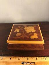"Reuge Italian Exotic Wood Flowers ""More"" Trinket Music Box"
