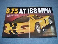 "2002 Dodge Viper GTS ACR Drag Car Article ""8.75 at 168mph"" twin-turbo"