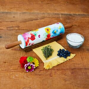 The Pioneer Woman Breezy Blossom Ceramic Rolling Pin with Wood Handle and Holder