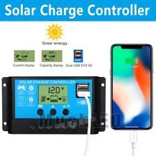 30A-60A PWM Solar Panel Battery Regulator Charge Controller 12V/24V Dual USB