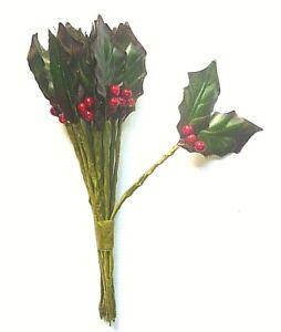 12 stems Xmas Artificial Holly leaves & Berries-Stem spray 35mm x 22mm 2 leaf