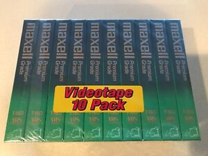 Maxell T-160 Up To 8 Hour Premium Grade 10 Pack Blank VHS Tapes - New/Sealed