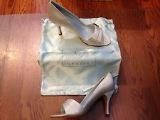 Grazia Franchesca Diamond White Silk Wedding Shoes Open Toe Pumps ~ Sz 7.5 NIB