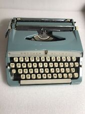 Vintage Working Brother Deluxe Typewriter with Manuals Case in Turquoise Blue