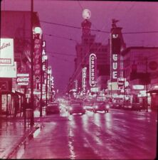 Slide City of Vancouver Skyline Canada Granville Street at Night Cars Shops Sign