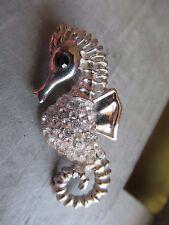 Gorgeous Crystal belly Seahorse brooch, unusual.