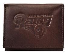 Los Angeles LA Rams NFL Embossed Logo Dark Brown Leather Trifold Wallet