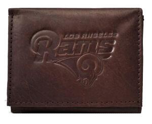 Los Angeles LA Rams Distressed Look Embossed Logo Dark Brown Leather Trifold