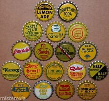Vintage soda pop bottle caps YELLOW COLORS Lot of 18 different new old stock