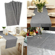 35x122CM Grey Imitated Linen Faux Burlap Table Runner Wedding Party Home Decor