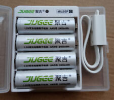 JUGEE 1.5v 2400mWh AA rechargeable Li-polymer li-ion lithium battery+usb charger