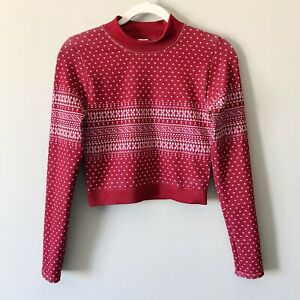 Fabletics NEW Holly Seamless Long Sleeve Cropped Top Fairisle Print Red Small