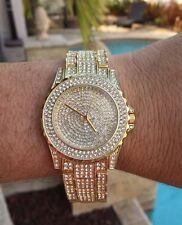 Mens Iced Bling Hip Hop CZ Crystal 14K Gold Plated Metal Geneva Platinum Watch