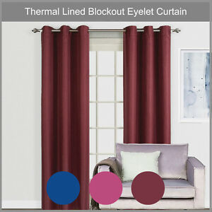 QUICKFIT 100% BLACKOUT EYELET THERMAL COATED LINED BLOCKOUT CURTAIN PANELS