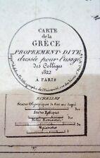 Alt- und Grenzkolorierte Kupferstichkarte von Griechenland, Henri Selves, 1822