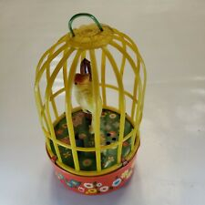 Vintage YONE Japan Tin Wind-Up Bobbing Parrot Toy 🦜 with Cage Tested and Works