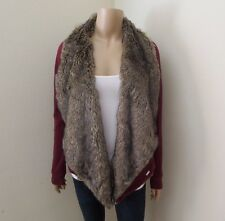 Hollister Womens Fur Lined No Closure Cardigan Size XS Sweater Burgundy