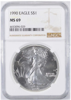 MS69 1990 American Silver Eagle - Graded NGC No Spots - Bright White