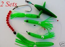 2 Sets DAISY CHAIN BAIT RIG BULB SQUID & BIRD TUNA MARLIN TROLLING LURES - GREEN