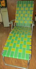 Vtg Webbed Aluminum Folding Lounge Chair Green Yellow Webbing EUC