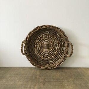 Vintage Large Wicker Reed Round Circular Fruit Bowl Basket Display Tray 38cm