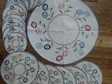 Vintage Hand Embroidered Linen Tablecloth/Centre Piece 6 Placemats & 12 Coasters