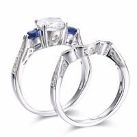SFEH11 .925 Sterling Silver Round Cut CZ Engagement Wedding Ring Set Size 6,7,8