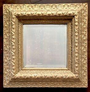 "Mirror Wood 22"" Ornate Gold Square Diamond Beveled Vtg Antique Picture Frame"