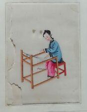 2 dessins gouachés, thèmes japonais texture fibreuse (très fragile) gouache