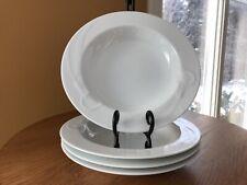 "4 MIKASA CLASSIC FLAIR WHITE CALLA LILY Rim Soup Bowls 9 1/8"" K1991 Helena Uglow"