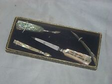 Manicure Set Hand Carved Solid Abalone Amicure Set Dated 1934 With The Box