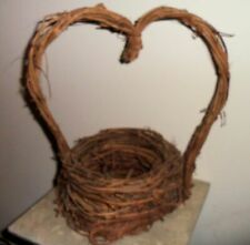 Decorative Woven Grapevine Basket Heart Handle Floral Craft Home Decoration 14""