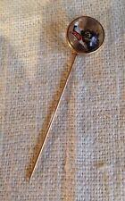 Antique 14k Gold Reverse Painted Essex Crystal Dog Design Stick Pin