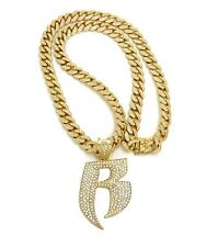 """RUFF RYDERS PIECE WITH 12mm 30"""" ICE BLING MIAMI CUBAN CHAIN"""