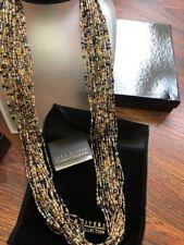 "Joan Rivers 36"" seed bead torsade necklace in jewel tones gold faux pearl NIB"