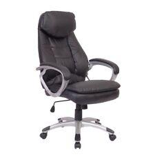 Fauteuil Chaise de Bureau Ergonomique en Cuir Maison Siège Noir E1N7