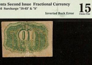INVERTED BACK PRINT ERROR 10 CENT FRACTIONAL CURRENCY POSTAGE NOTE Fr 1246 PMG