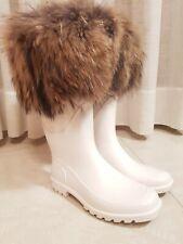 Dolce & Gabbana Donna Boots Stivali Gomma Vera Pelliccia Galosce Made in Italy